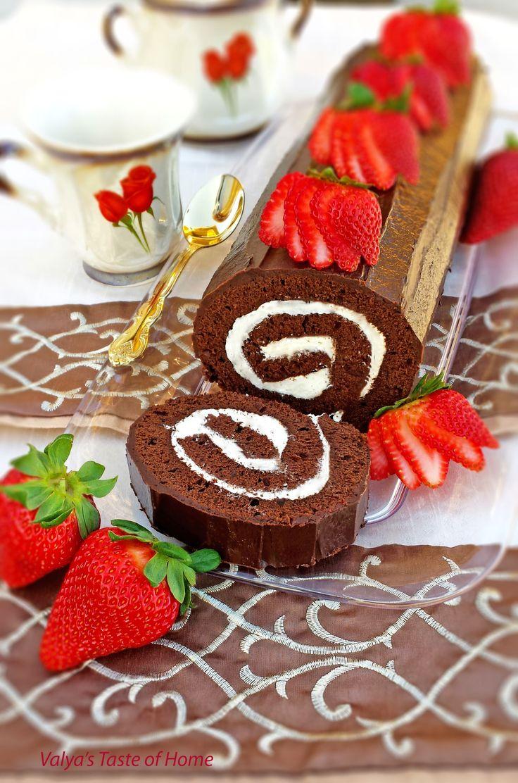 Brazo de gitano de chocolate relleno de nata