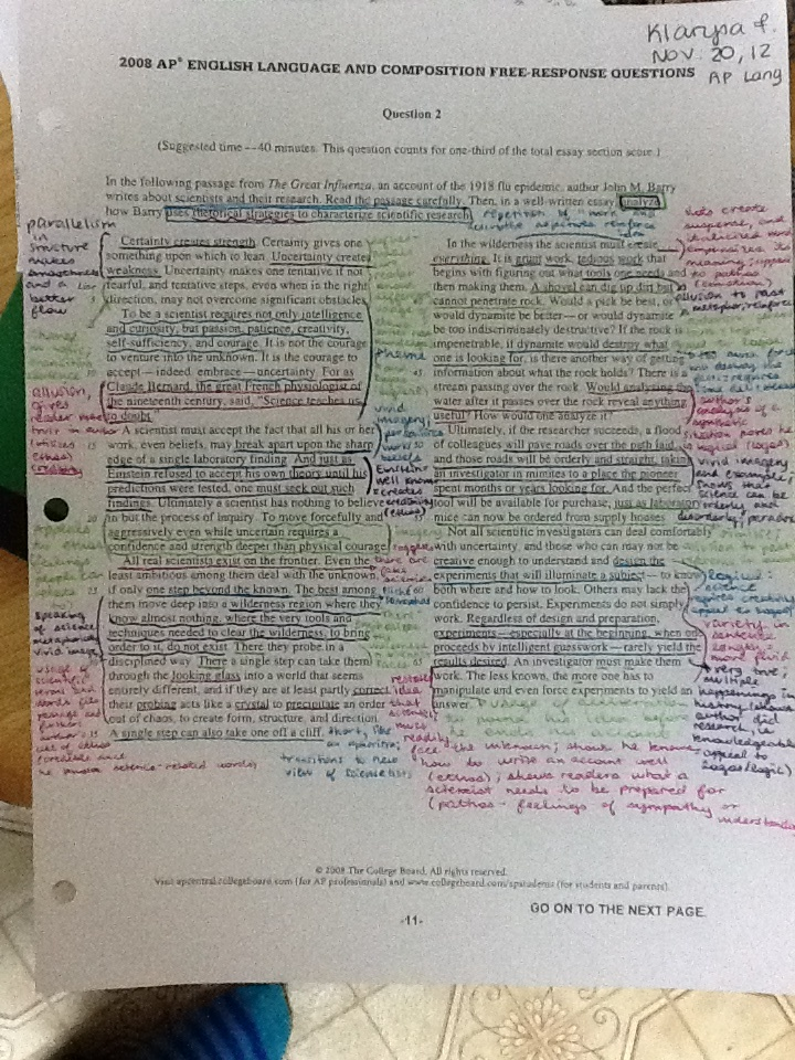 Annotation example! | AP Literature and Composition ...