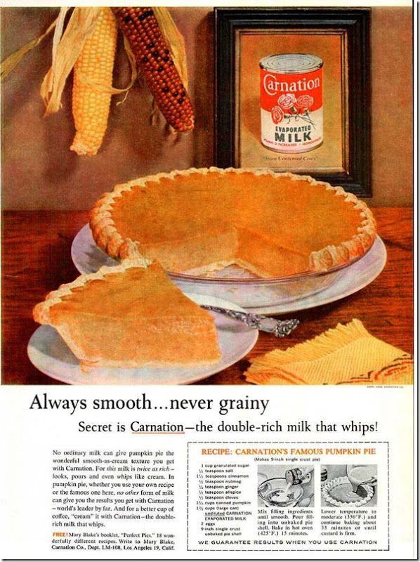 Vintage Carnation Evaporated Milk Pumpkin Pie Recipe Chronically