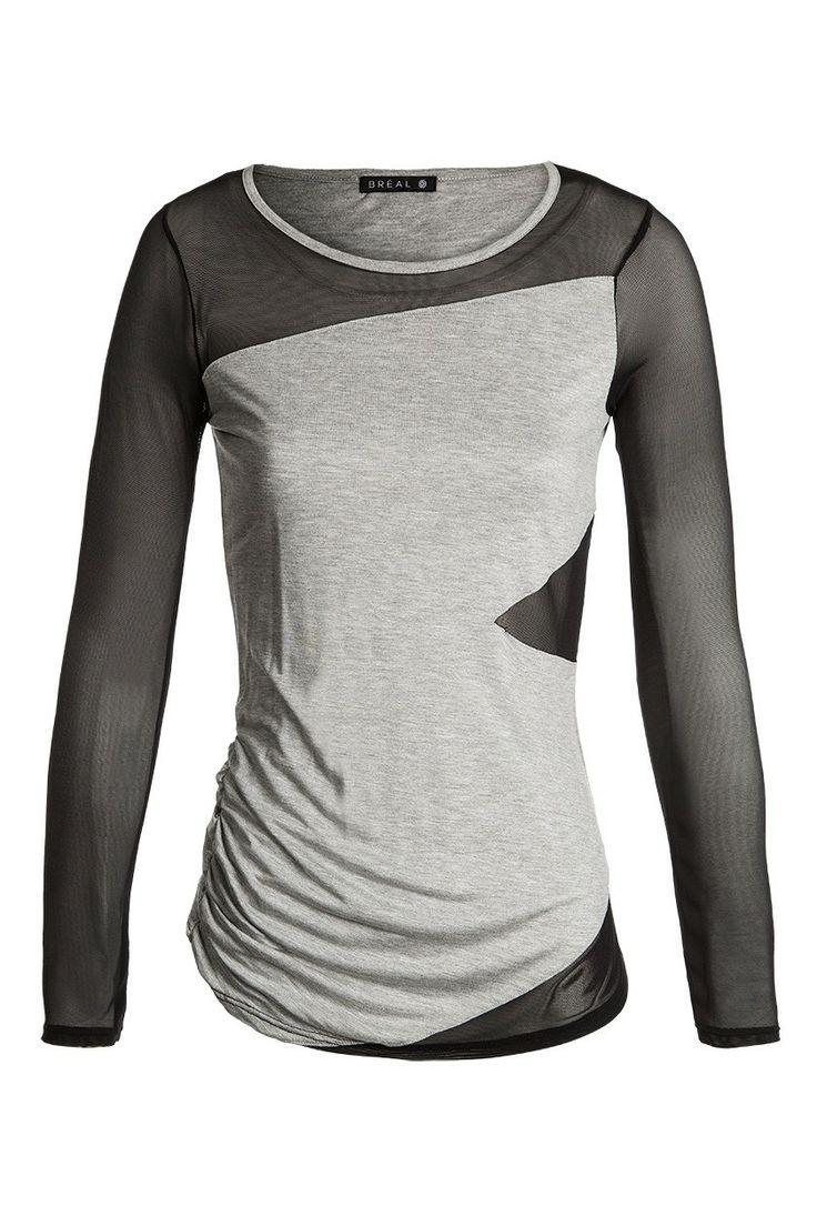 Tshirt manches longues avec résille - Nouvelle Collection T shirt femme de la marque Bréal