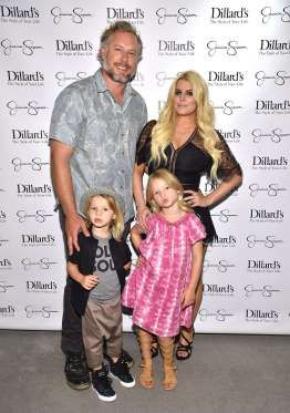 Jessica Simpson and husband Eric Johnson brought son Ace and daughter Maxwell to a spring style even... - Getty Images for Jessica Simpson Collection