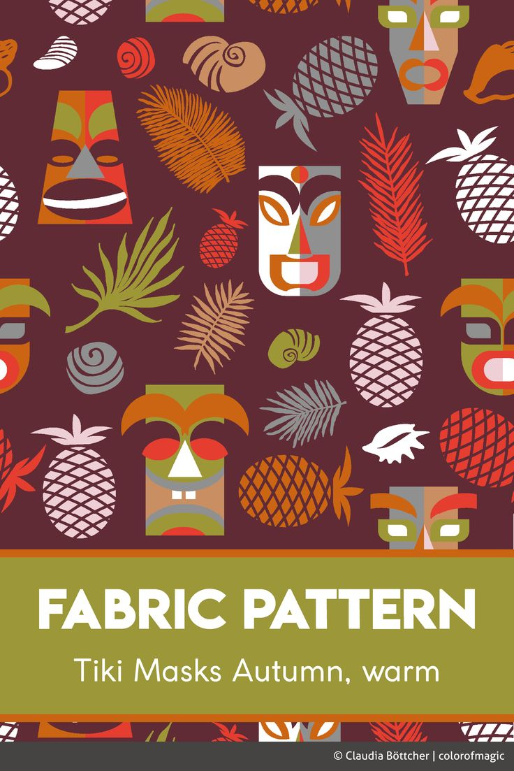 Another color variation of my tiki masks pattern using some warm pantone fashion 2017 colors: Tawny Port, Grenadine, Golden Lime, Butterum, Autumn Maple and Ballett Slipper. Soon available at spoonflower!