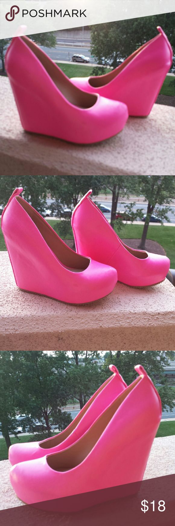 Hot pink platform wedges by Elle Hot pink wedges with covered platforms. Rounded toes and high heels...about 4 inches.  Excellent condition, never worn.  Made by Elle. Elle  Shoes Wedges