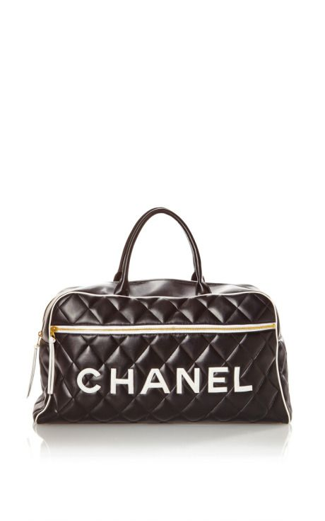 Vintage Chanel Black Name Travel Bag From What Goes Around Comes Around