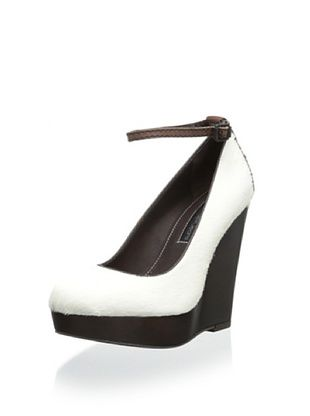59% OFF Calvin Klein Jeans Women's Harla Wedge Pump With Ankle Strap (Off White/Brown)