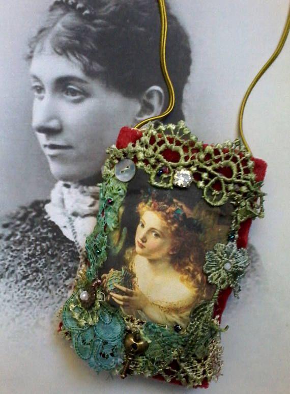 Vintage pouch necklace, pendant purse, fairy necklace, keepsake, heirloom bag, amulet, vintage bag, gypsy purse, card holder, key holder