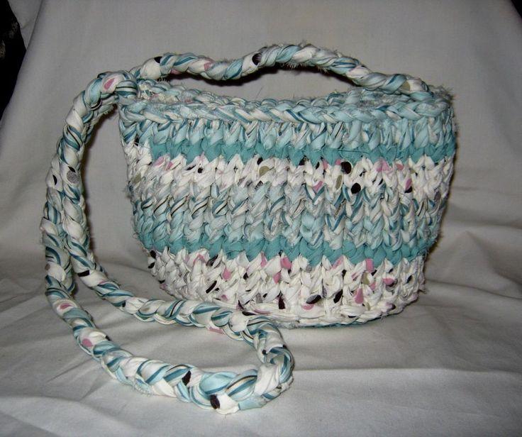 Details about Aqua Boho Shoulder Bag Handknit #3155