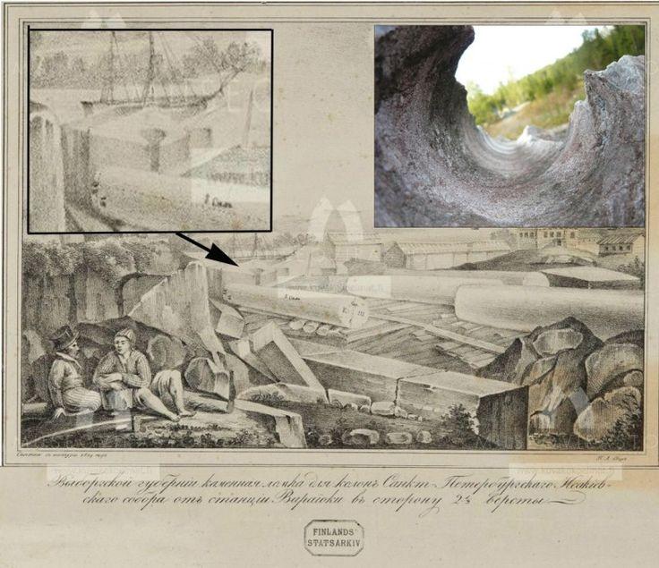 В своем альбоме от 1829 г., изображая изготовление колонн в Питерлаксе, нарисовал с натуры круглую выемку в граните. Пример современной находки см. на фото, справа. Сам великий рисовальщик подтвердил наличие древних технологий обработки камня, о которых нам остается только догадываться.