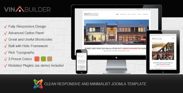 Vina Builder is a clean and minimalist Joomla! Template for construction company, also suitable for business, corporate and marketing. It's responsive optimized for tablet and any others mobile screen. If you want to build a business, corporate or portfolio website, Vina Builder is your best choice, enjoy it !  More details here: http://thecoders.vn/joomla-templates/item/138-vina-builder-clean-and-minimalist-joomla-template.html