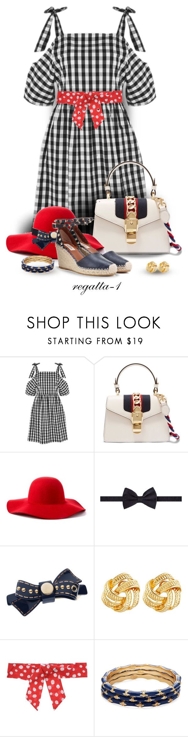 """Gingham Dress"" by regatta-1 ❤ liked on Polyvore featuring Topshop, Gucci, Scala, Diverso, L. Erickson, Susan Shaw, Blugirl Folies, Kenneth Jay Lane and Valentino"