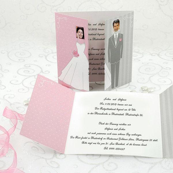 Pink Und Grau Wunderschoen Einladungskarten Hochzeit Mit Fotos P OPB004 Winter  Hochzeit Mit Dem Romantischen Märchen