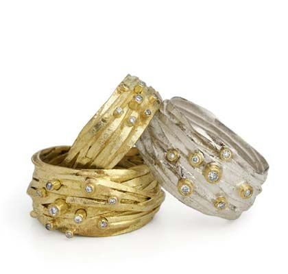 Shimara Carlow - 18ct Gold and Silver Wrap Rings + 7 mixed diamonds 18ct gold, silver and diamonds - 12mm - and 10mm wide and 2mm deep
