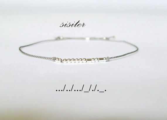 Le Code Morse sœur minimaliste Bracelet par GoldenLeafBijoux