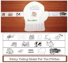 FREE printables.  Help your students retell Jan Brett's story The Mitten with this mitten story telling slider craft.  Grahics cjanbrett at janbrett.com