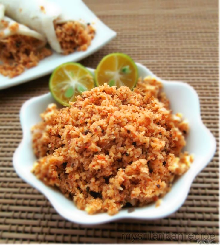 Coconut sambol is a famous side dish in Sri Lanka, Almost everyday during break fast coconut sambol served with bread, coconut roti or with string hoppers.