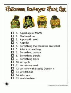 halloween scavenger hunts halloween scavenger hunt list for fundraiser idea - Halloween Fundraiser Ideas