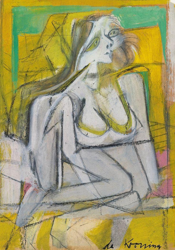 6 Willem de Kooning (1904-1997) In 1938 ontmoette hij Elaine Fried met wie hij in 1943 trouwde. Zij werd ook een bekend kunstenares. Vanaf de jaren 40 werd hij steeds meer geïdentificeerd met de Abstract Expressionistische stroming en hij werd een van de aanvoerders ervan in het midden van de jaren 50. Hij had in 1948 zijn eerste tentoonstelling met zijn zwart-witte emaille composities.