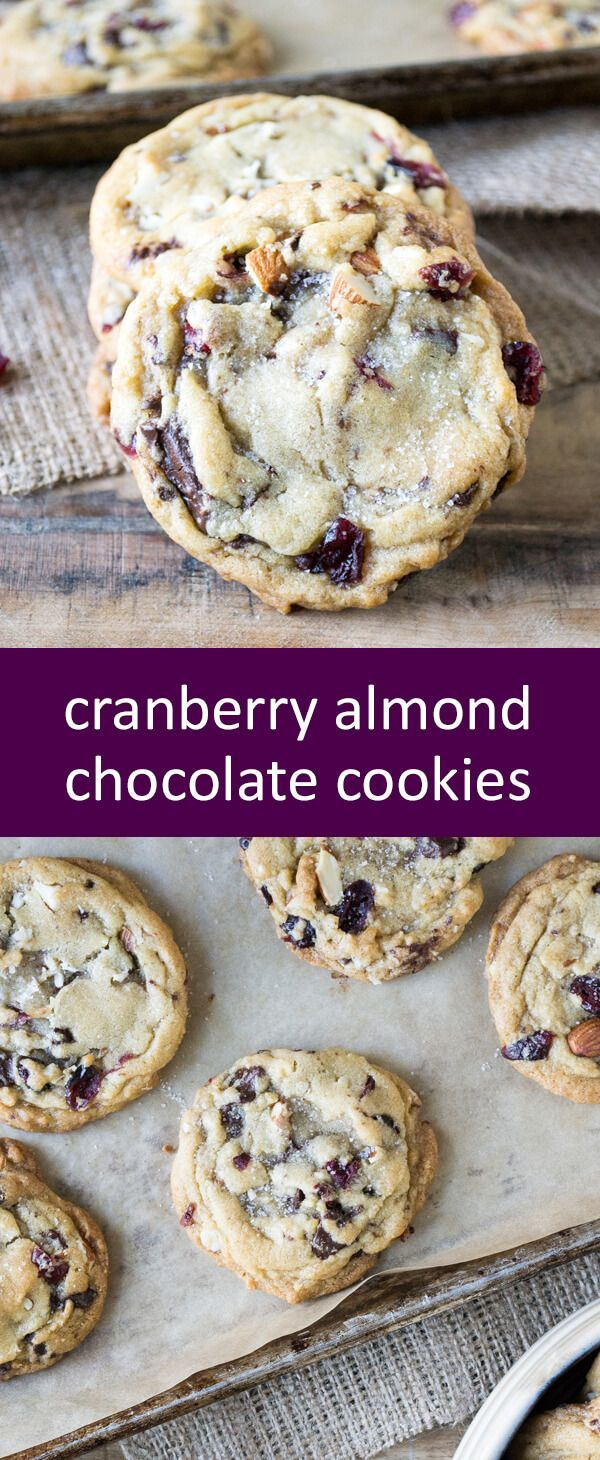Cranberry Almond Chocolate Cookies filled with dried cranberries, almonds and dark chocolate chunks, topped with a sprinkle of sea salt. via @wellfloured
