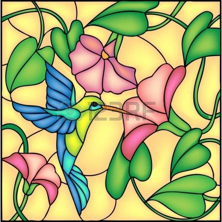 Floral composition with tropical flowers and flying humming bird   colibri, vector illustration