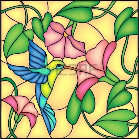 Composición floral con flores tropicales y volando colibrí colibrí, ilustración vectorial Foto de archivo