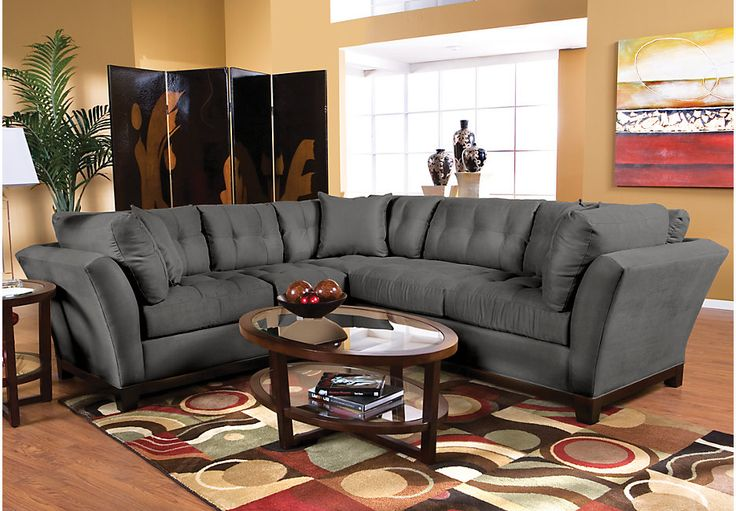 Cindy Crawford Home Metropolis Slate 2 Pc Sectional  - Sectional Living Rooms (Gray)