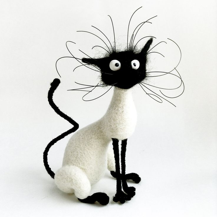 Gato tonto / fieltrar lana / personal de juguete por PuntikvaStore