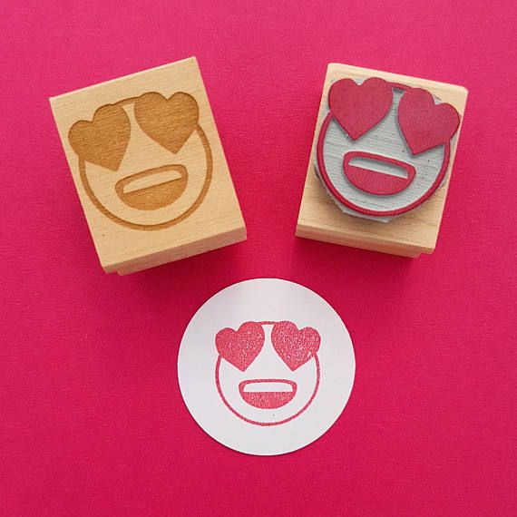 Emoji Rubber Stamp   Heart Eyes by Skull and Cross Buns