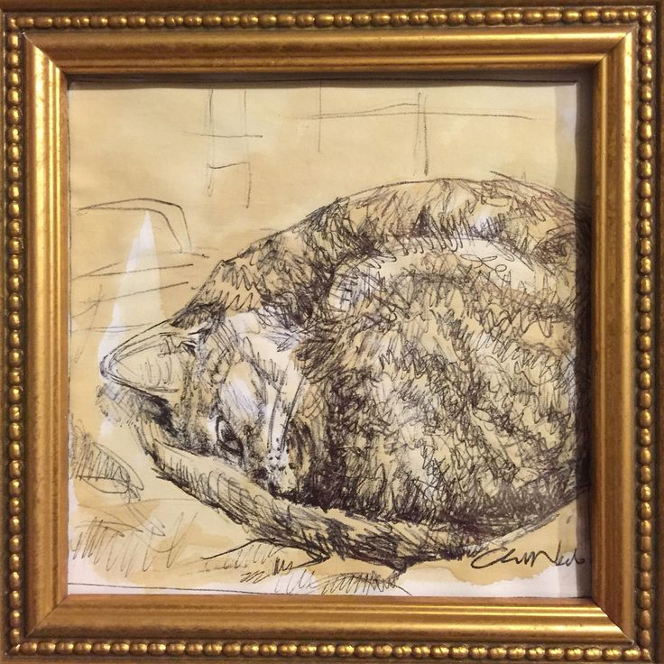 Cat ball :) black pen drawing and coffee by Chiara Nardo