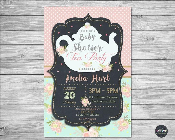 Pretty tea party baby shower invitation from Lollipop Party Supplies.  Http://www.lollipoppartysupplies.com.au
