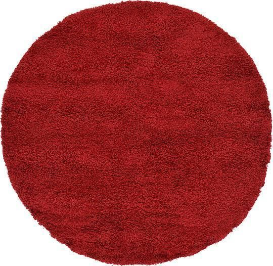 Cherry Red Solid Shag Area Rug