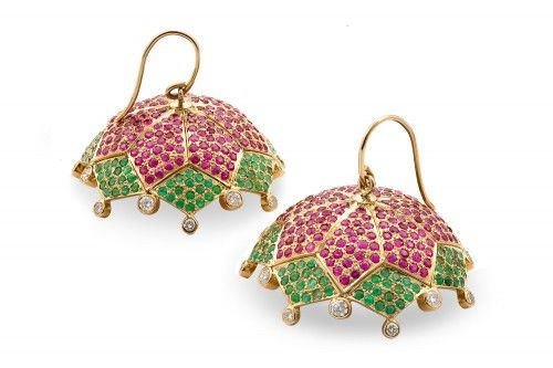 Kavitha Ruby, Emerald and Diamond Jhumka