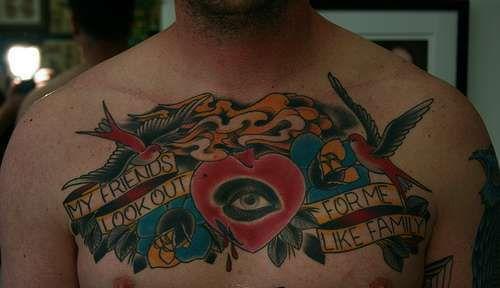 Friendship Tattoo For Men Men chest friendship tattoo