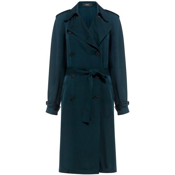 Theory - LAURELWOOD SILK TRENCH COAT (29,205 PHP) ❤ liked on Polyvore featuring outerwear, coats, lightweight trench coat, blue trench coats, theory coat, trench coat and blue coat