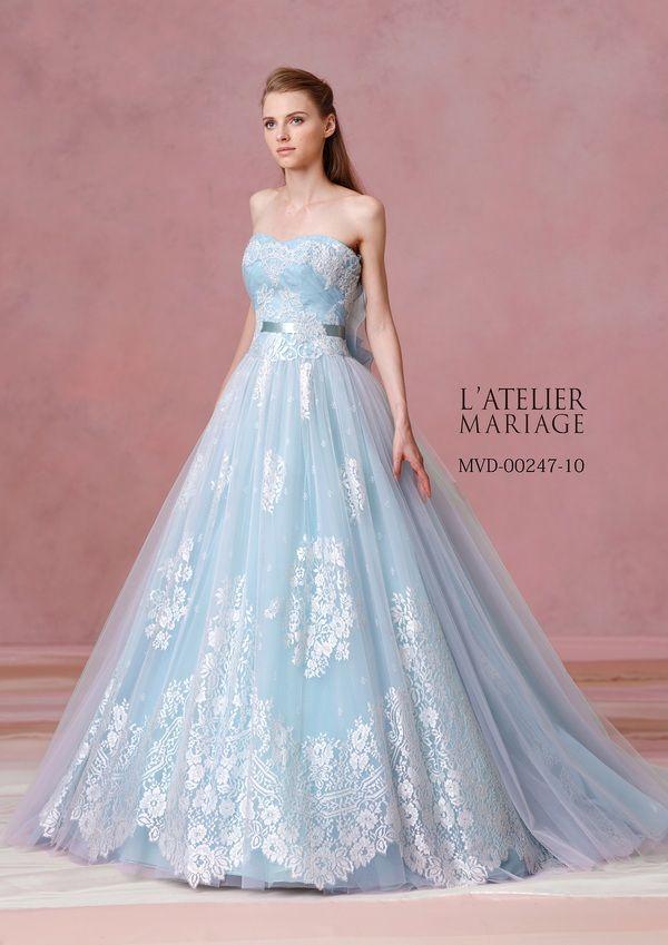 スタイルを美しく魅せてくれるAラインのカラードレス♡レースを使ったカラードレス参照一覧♡
