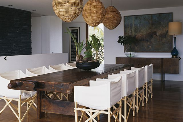 Design Chic - Beach house - love the rattan pendants and white director's chairs for a beach house!