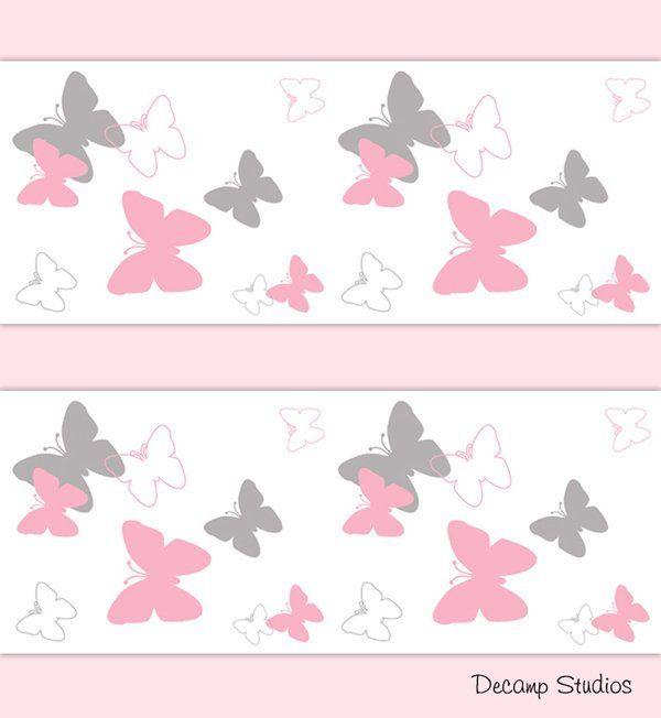 Pink Butterfly Nursery Baby Girl Wallpaper Border Wall Art Decals Kids Room Decor Butterflies Wi Girls Wall Stickers Kids Wall Decals Pink And Grey Wallpaper