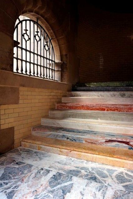 Scotsman Steps, resurfaced with marble from around the world, by artist Martin Creed
