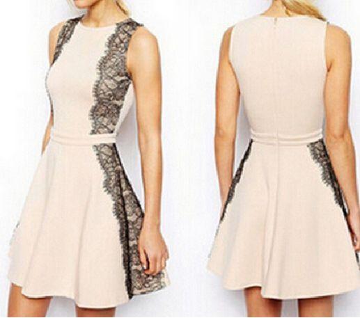 Fashion lace sleeveless zipper dress
