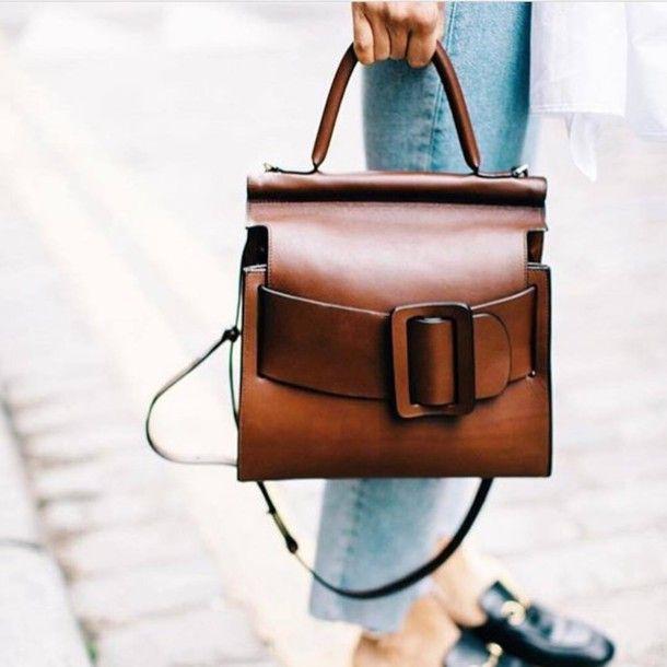 Bag: tumblr brown hand minimalist satchel leather brown leather brown leather fall accessories