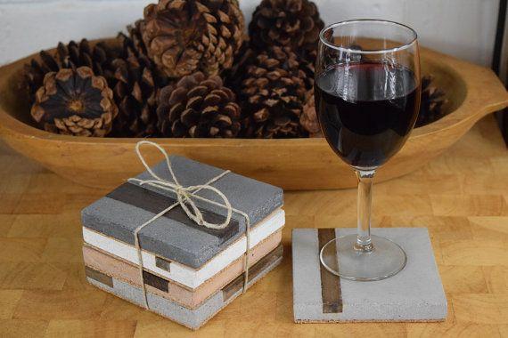 Handmade GFRC Concrete Coasters Hardwood Inlay
