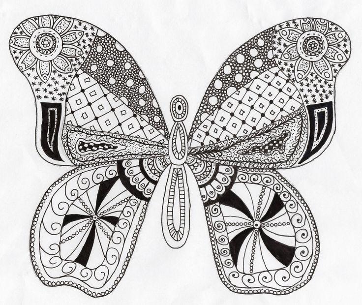 Een handgemaakte Zentangle tekening van een vlinder door Zen met NEI!