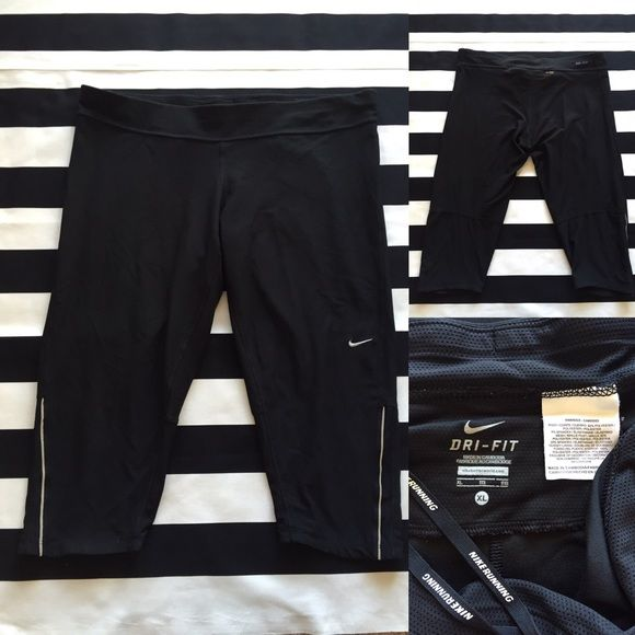 Nike DRI-FIT women's cropped capri pant szXL⚽️ Nike DRI-FIT women's cropped capri pant szXL ⚽️ black color, great used condition, front adjustable drawstring and back zipper pocket Nike Pants Capris
