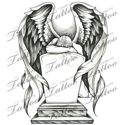 Marketplace Tattoo Grieving angel and tombstone #15785 | CreateMyTattoo.com