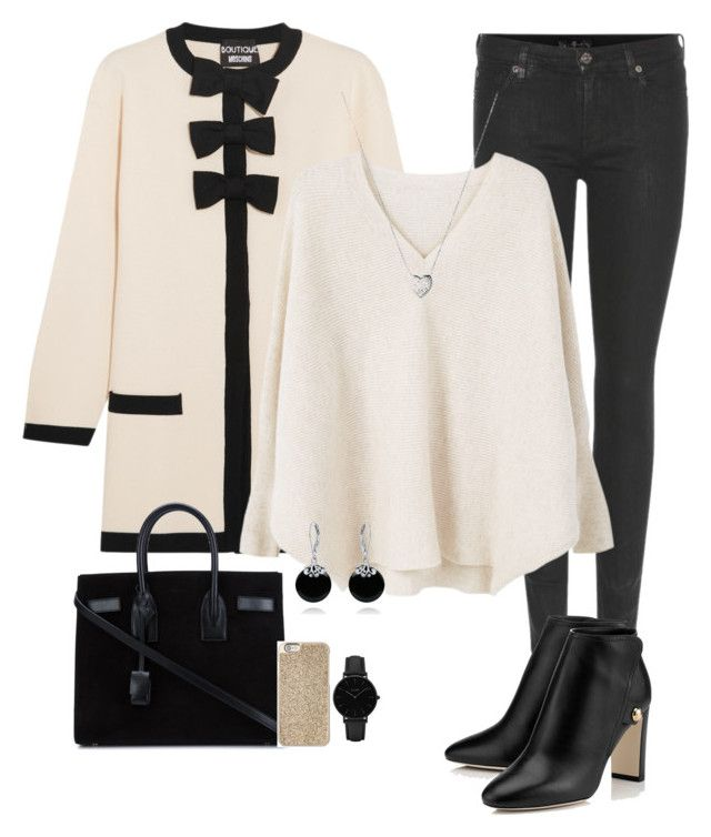 """""""Snow"""" by chrissy-50 ❤ liked on Polyvore featuring Boutique Moschino, 7 For All Mankind, MANGO, Yves Saint Laurent, CLUSE, Links of London, Bling Jewelry and Michael Kors"""