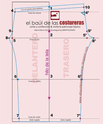 EL BAÚL DE LAS COSTURERAS: Calzas, trazado de molde. Leggins pattern with explanations