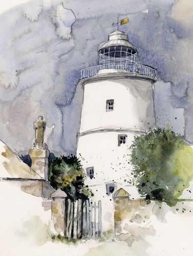Lighthouse, St Agnes, Scilly.  Watercolour. Kathy Lewis