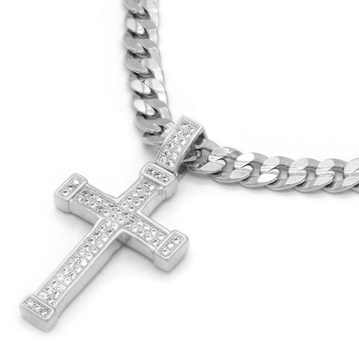 Mens White Gold Tone Fully Cz 2 Line Staple Cross Pendant Hip-Hop 24' 5mm Cuban Chain ** Quickly view this special product, click the image