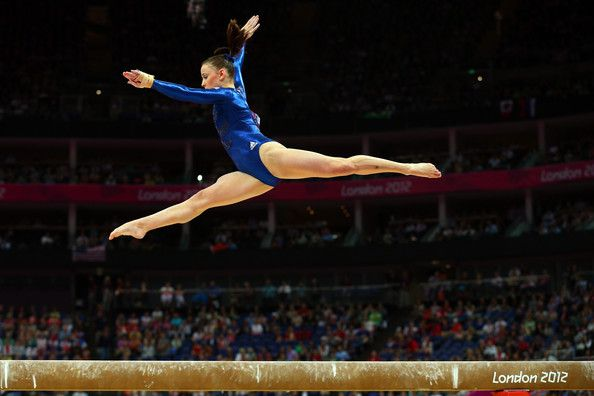 Team GB gymnast Hannah Whelan wears beige kinesiology tape on her left shin in the women's team gymnastic final, 6th place excellent work girls!