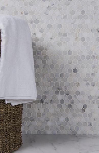 "Carrara Venato White Marble 1"" Hexagon Mosaic Tile Honed"