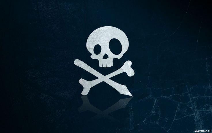 Стильный пиратский череп с костями. Аватар с красиво нарисованным черепом…